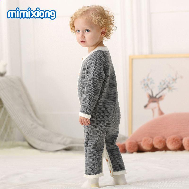 Твердий колір Baby Unisex Трикотажний Ремпер Пружинка Довгий рукав Дітей  Дитячі Хлопчики Дівчата Комбінезони Сірий Малюк 4d7205f4b32b9
