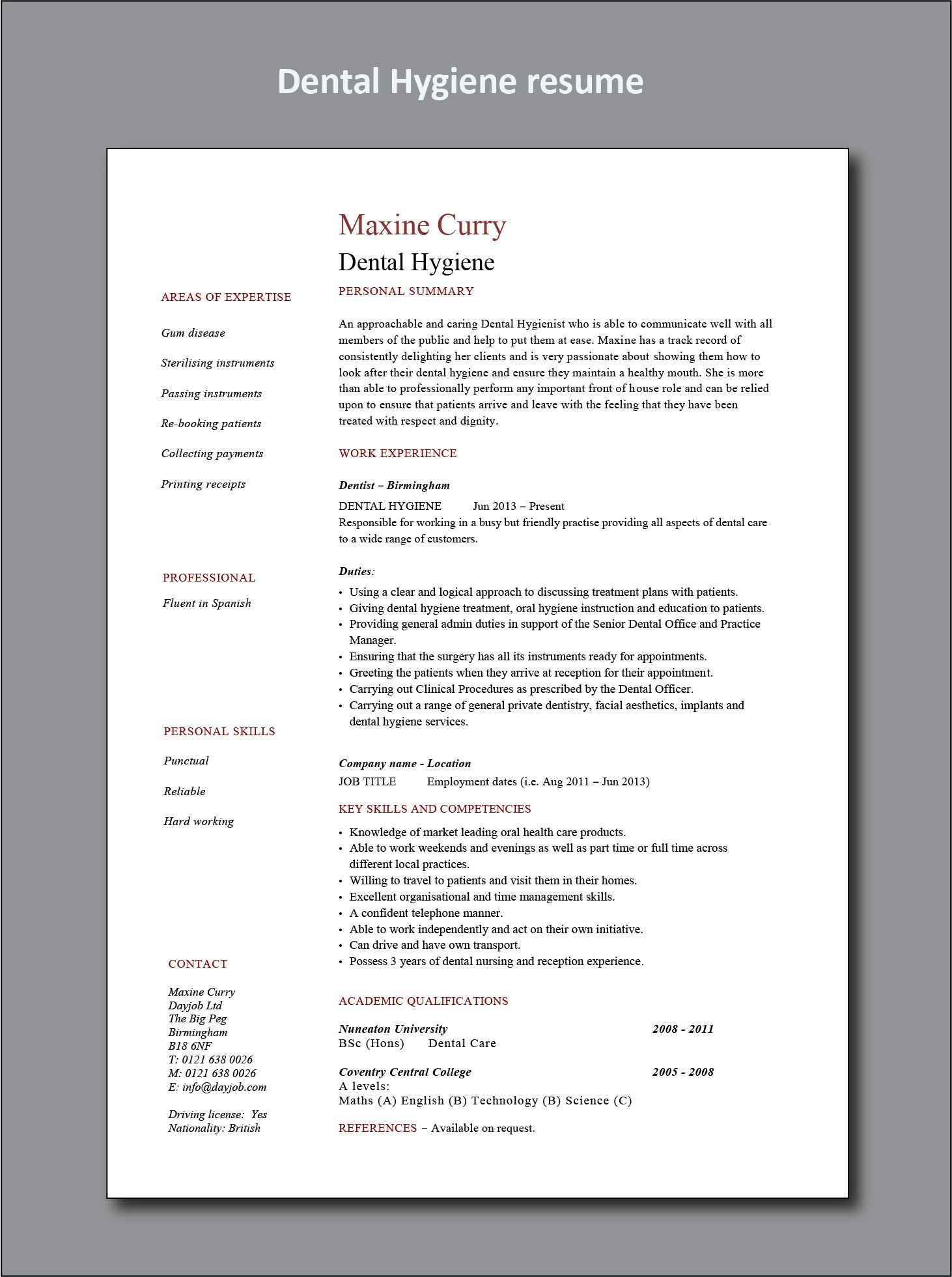 Dental hygiene resume example cv hygienist healthcare