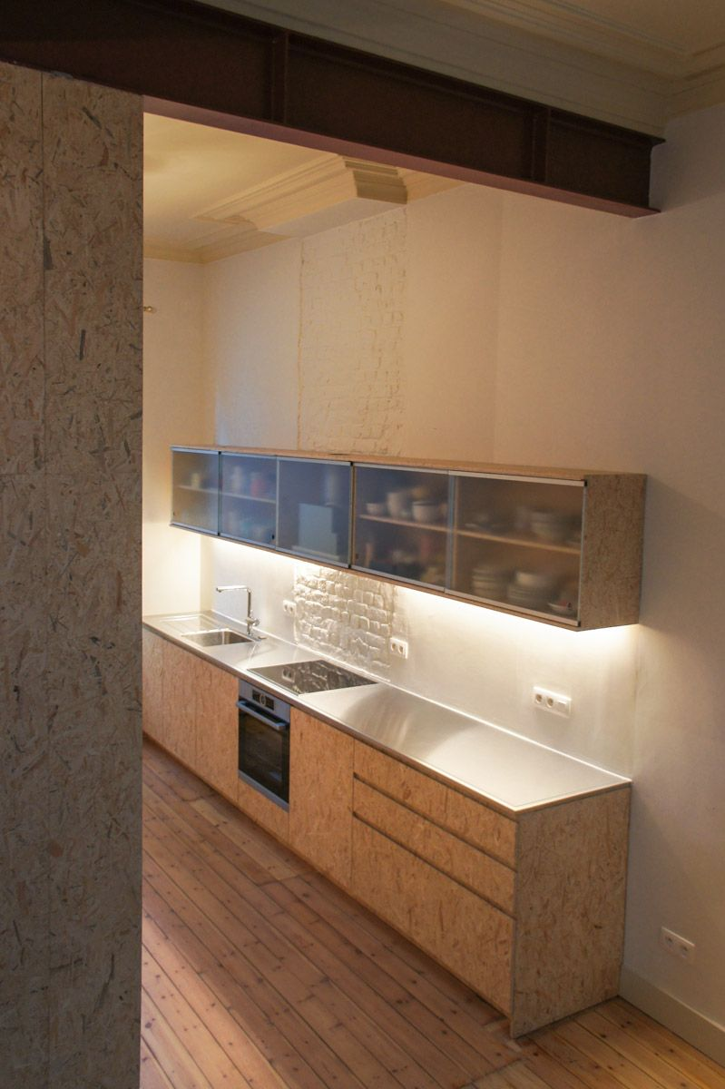 Atelier Antipode OSB kitchen and dividing the