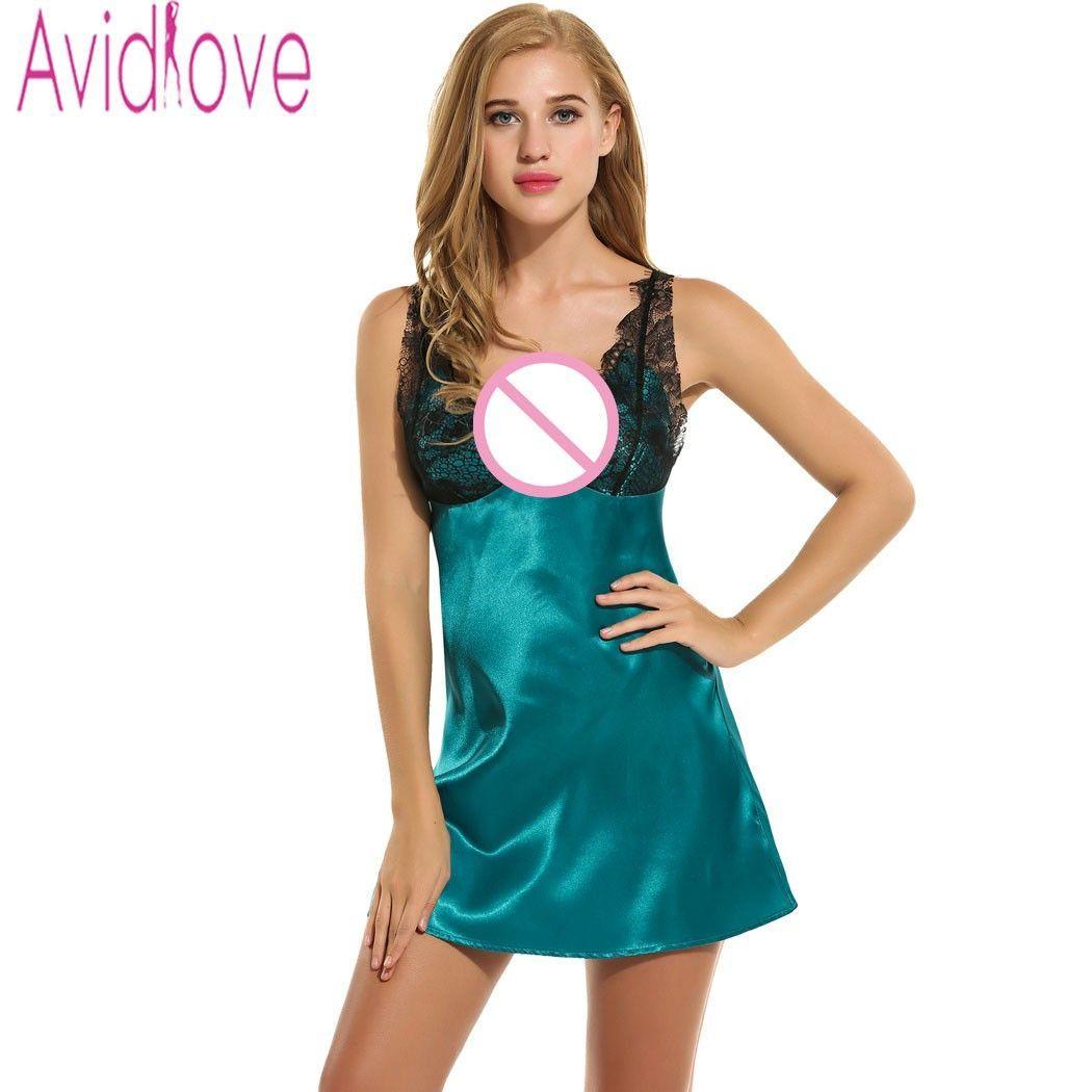 Avidlove Sleepwear Sexy Satin Sleep Dress Slip Nightgown Women ...