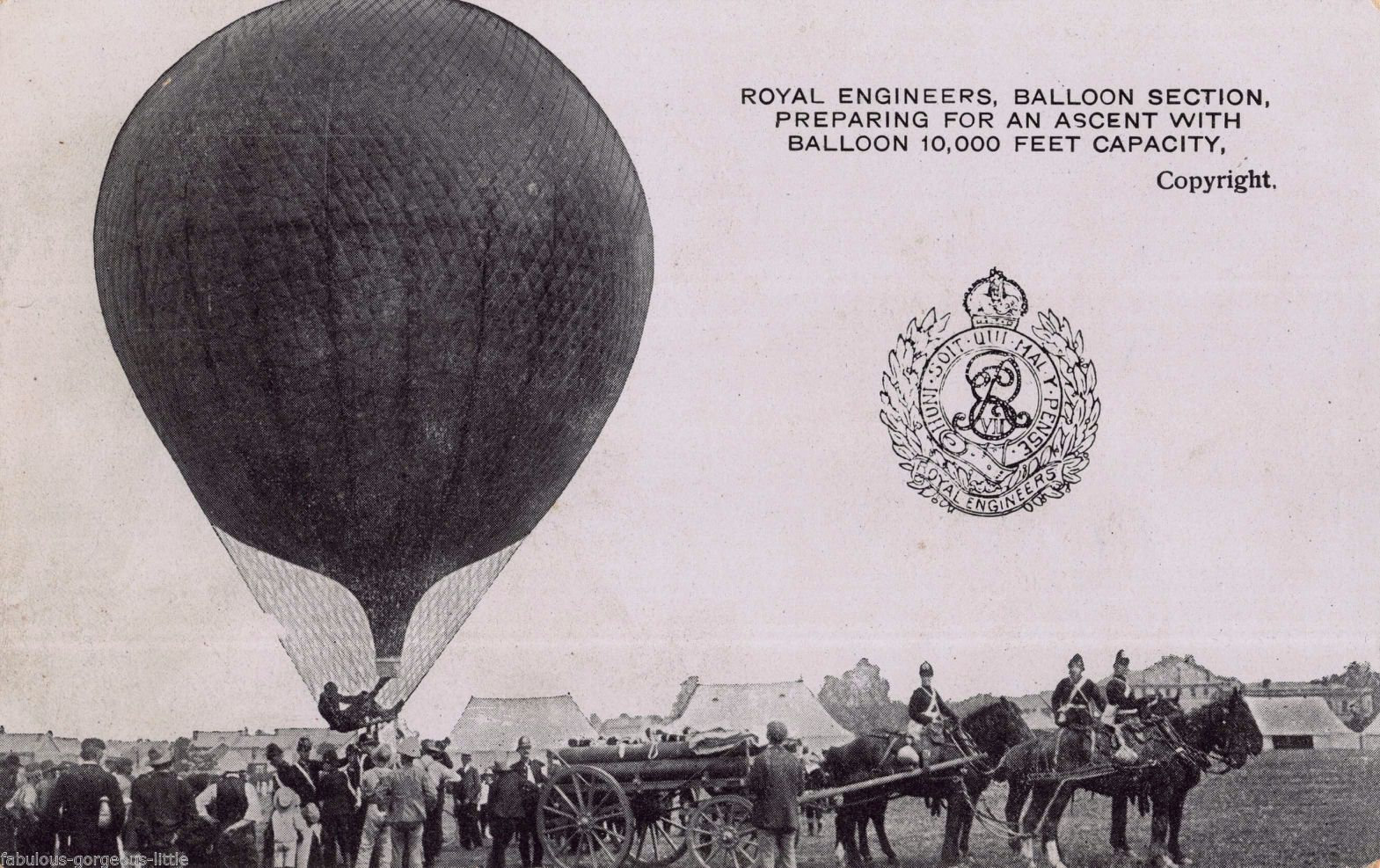pre1914 AVIATION POSTCARD ROYAL ENGINEERS AIR BALLOON