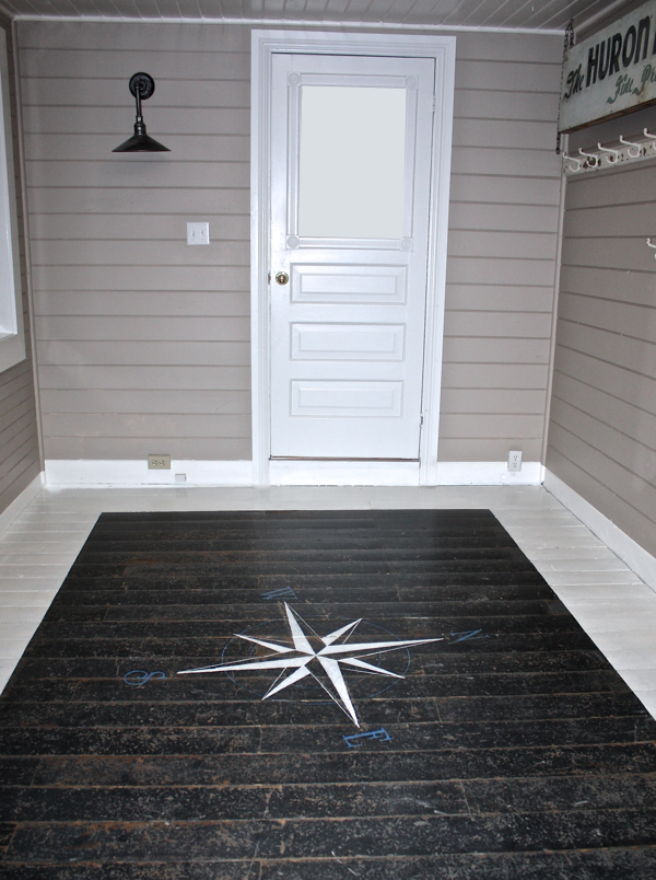 How To Paint A Floor Compass Diy Flooring Painted