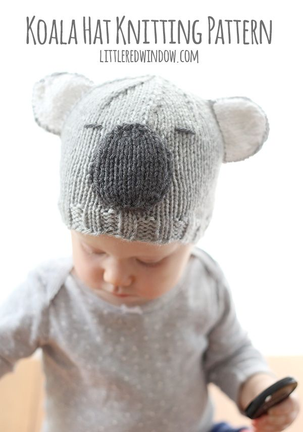 Cuddly Koala Hat Knitting Pattern | Gorros, Gorros de lana y Tejido