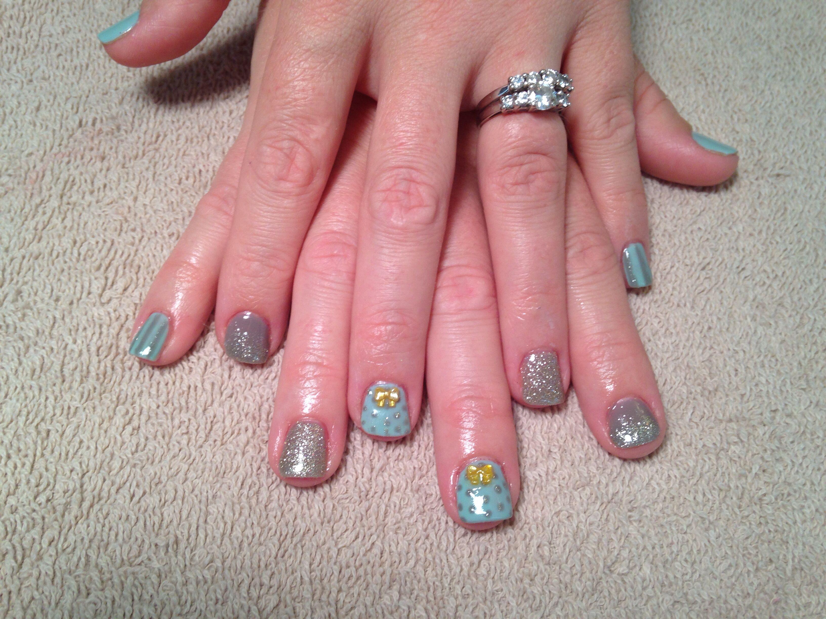 Gel polish, nail art, bows, polka dots, gray, gold, glitter | Nail ...