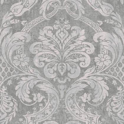 Gran deco paradise damask wallpaper silver