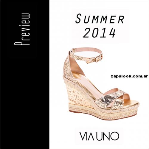 2014Calzado Doradas Verano Sandalias Via Uno Altas Con Plataforma nwPOk08X