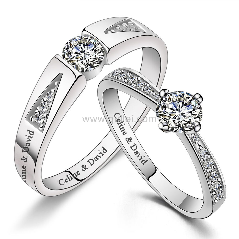 Gullei Com Wedding Bands Set With Custom Names Sterling Silver Cubic Zirconia Wedding Bands Couple Wedding Rings Wedding Band Sets