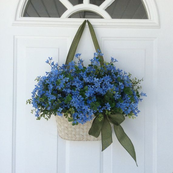 Front door decor wreaths wall basket forget me nots for Fairy door for wall