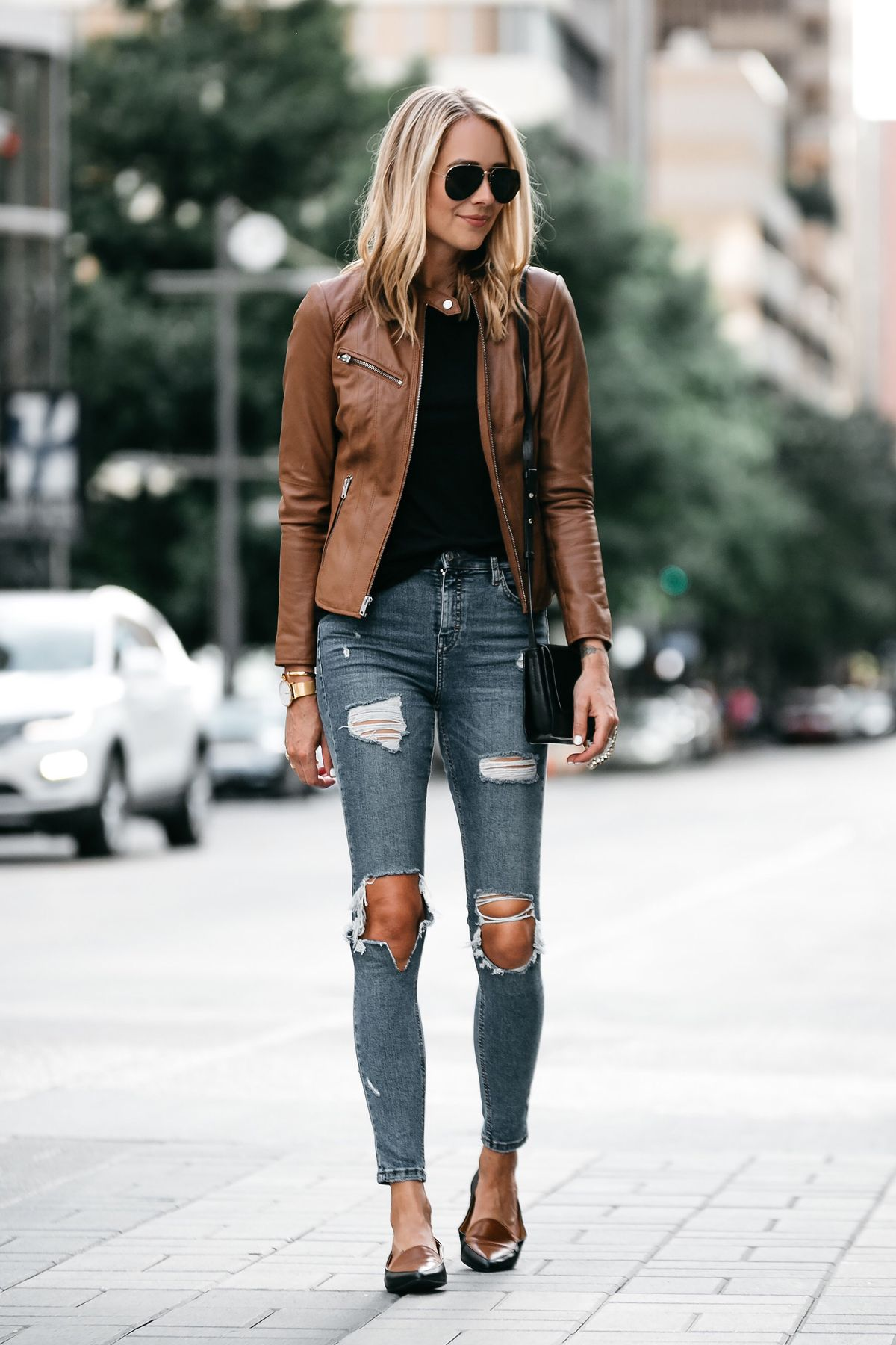 e76ad5f7375 Blonde Woman Wearing Tan Leather Jacket Black Tshirt Denim Ripped Skinny  Jeans Outfit Black Tan Loafers Chloe Faye Handbag Fashion Jackson Dallas  Blogger ...