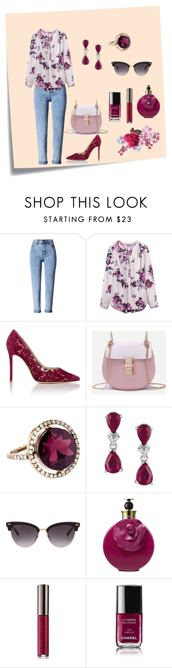 """Púrpura e jeans"" by megeller on Polyvore featuring moda, Post-It, WithChic, Joules, Gianvito Rossi, Accessorize, Gucci, Valentino, Chantecaille e Chanel"