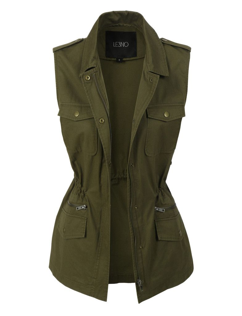 LE3NO Womens Sleeveless Military Anorak Jacket Vest with Pockets - LE3NO Womens Sleeveless Military Anorak Jacket Vest With Pockets