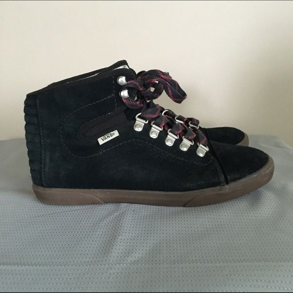 VANS Sherpa-lined Black Suede High Tops These Sherpa-lined black suede Vans are in great condition! They're incredibly warm and very comfortable. They have only been worn a few times. Vans Shoes Ankle Boots & Booties