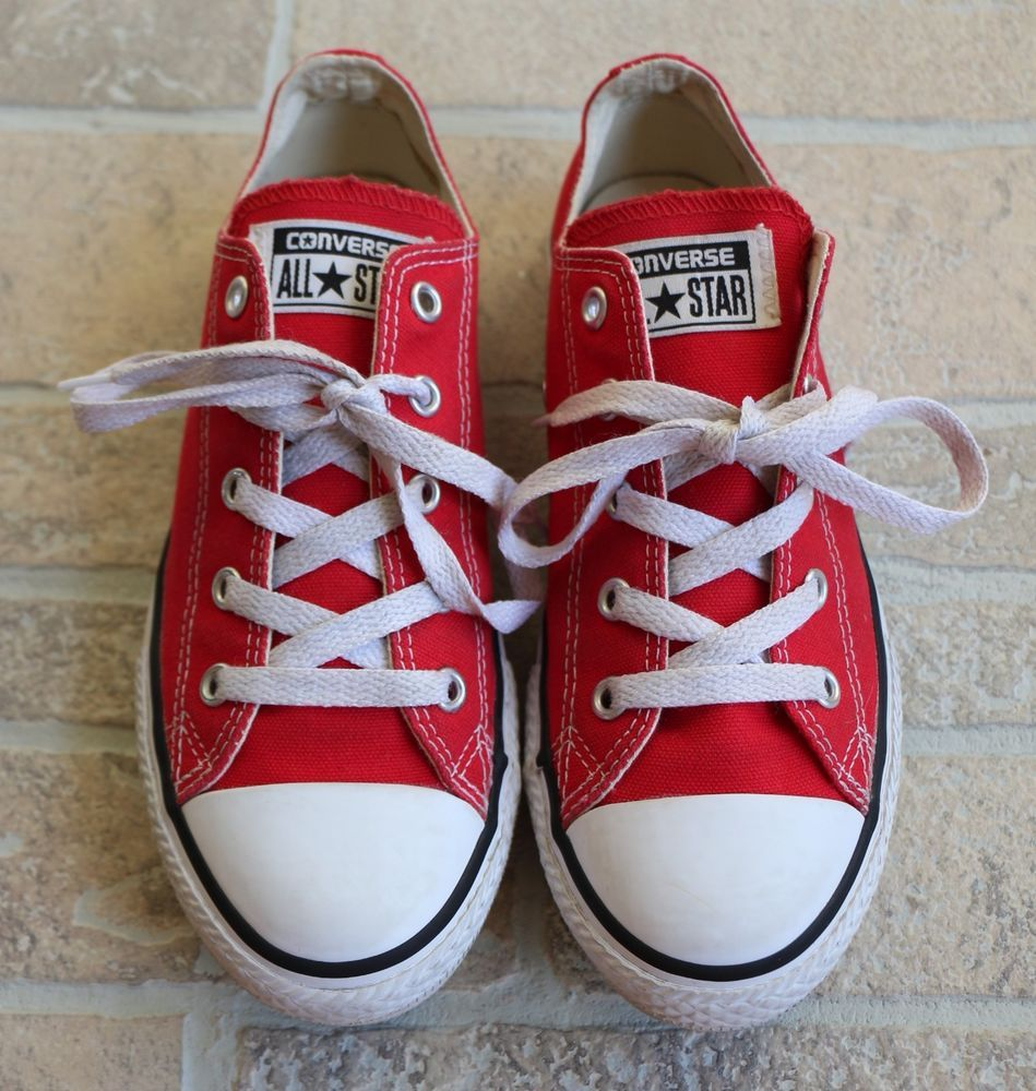 213e877225f254 Converse All Star Chuck Taylor Low Cut Red White Canvas Sneakers Junior  Size 3  Converse  Athletic  Casual