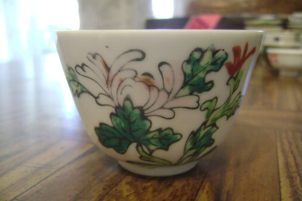 Vintage Restaurant Japanese Porcelain Tea Cup Unknown Maker Lotus Flower Motif #Unknown
