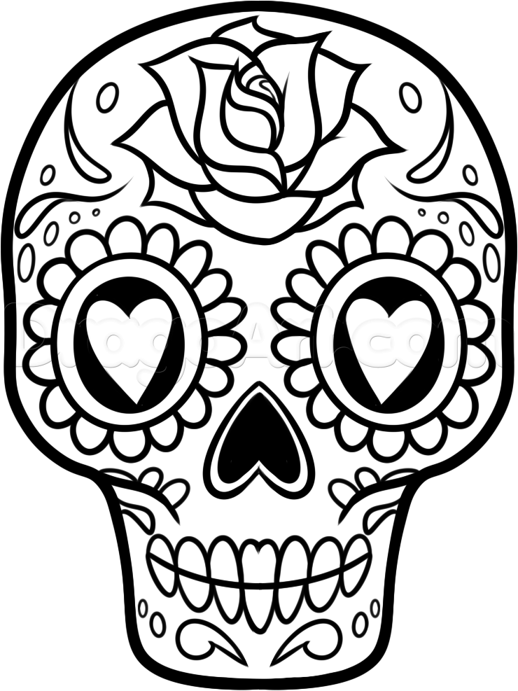 how to draw a sugar skull easy step 10 | Easy skull drawings ...