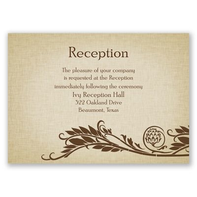 Reception CardsNatural Reception Cards Wedding Reception Cards