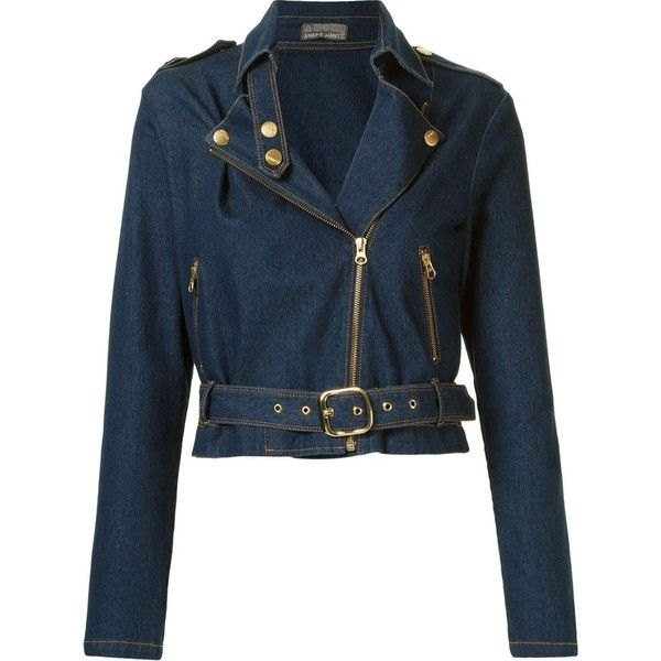 Amapô belted denim jacket ($280) ❤ liked on Polyvore featuring outerwear, jackets, blue, jean jacket, side zip jacket, blue denim jacket, long sleeve jean jacket and side zipper jacket