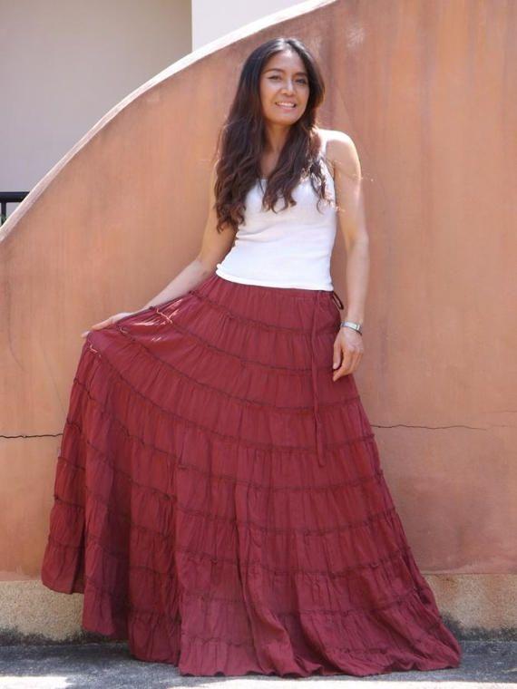 8fb997ca4c538 Long Skirt / Boho Skirt / Maxi Skirt / Brick Red Skirt / Full | Long ...