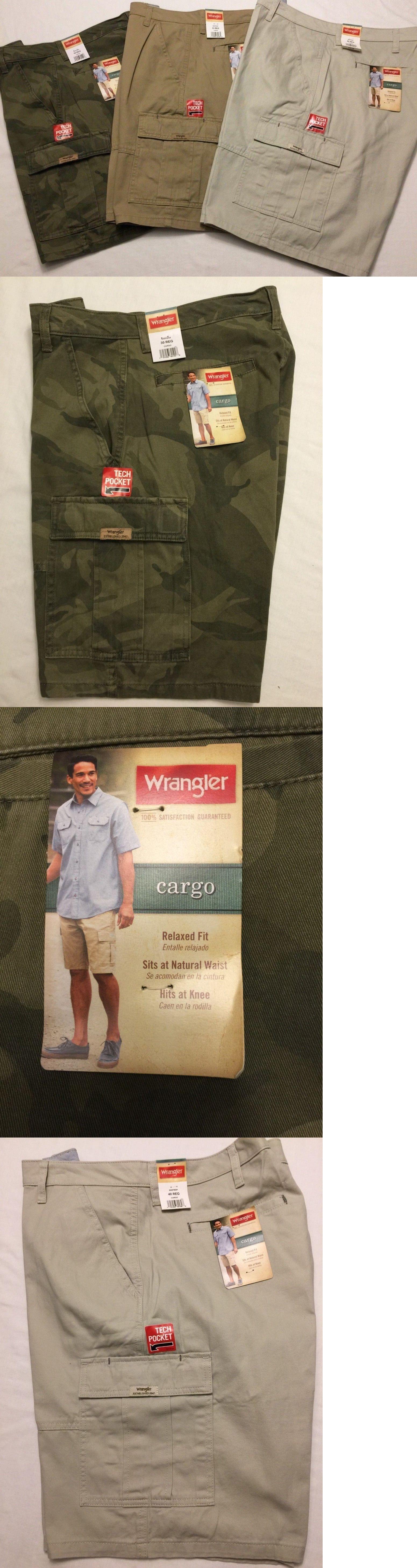 13eb30a180 Shorts 15689: Nwt Wrangler Men S Cargo Shorts Stone Khaki Blue, Green Camo Tech  Pocket Relaxed -> BUY IT NOW ONLY: $27.95 on #eBay #shorts #wrangler #cargo  ...