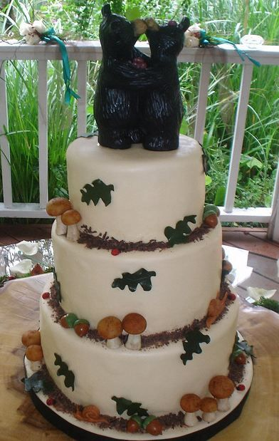 Three Tier Round White Outdoor Theme Wedding Cake With Kissing Bears Topper And Mushrooms Snails