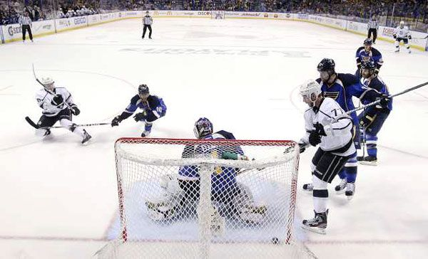 Slava Voynov's goal from a great feed from Penner tied the game 1-1.