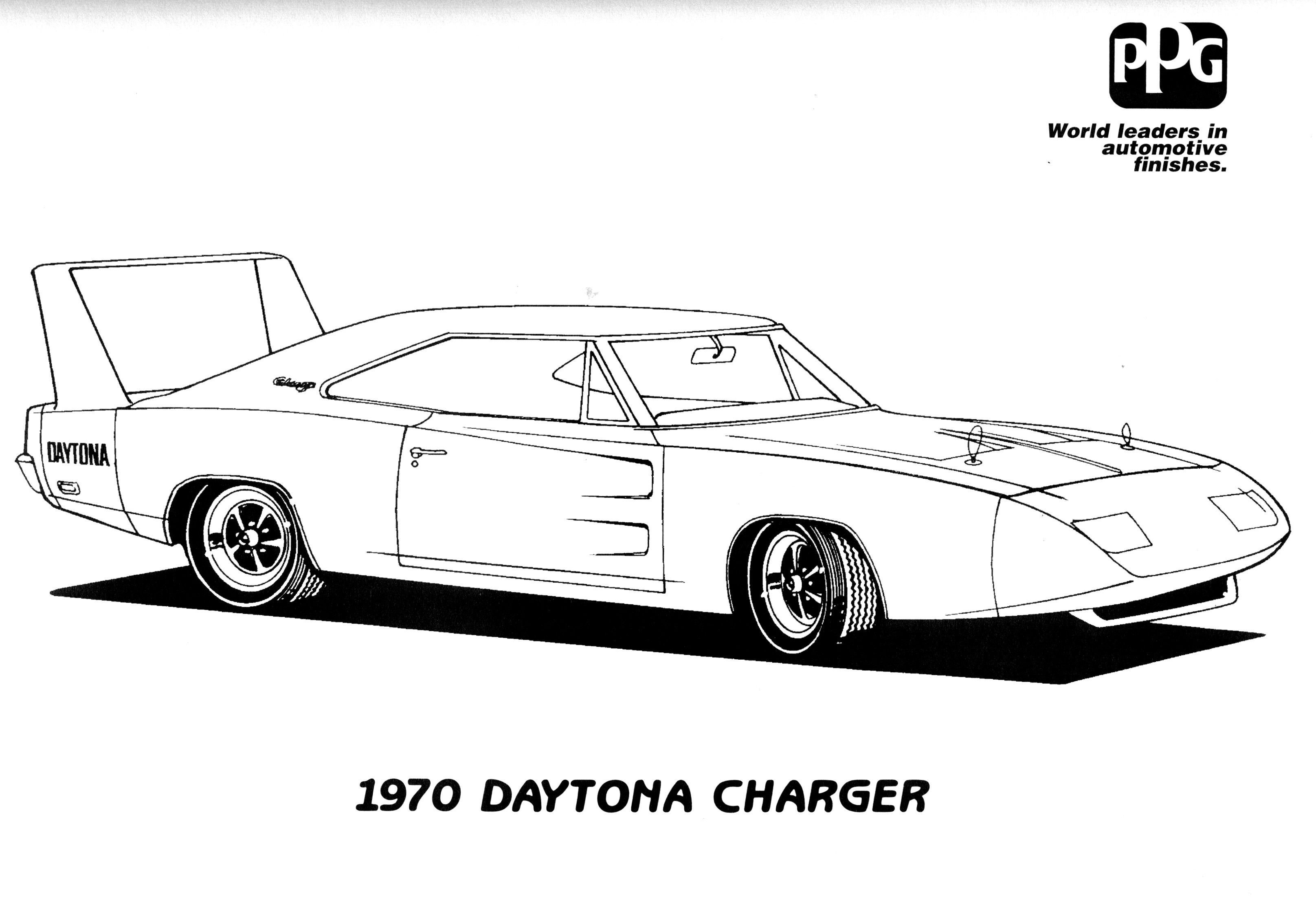 Antique cars coloring pages - Police Car Coloring Pages Printable Dodge Charger Coloring Pages