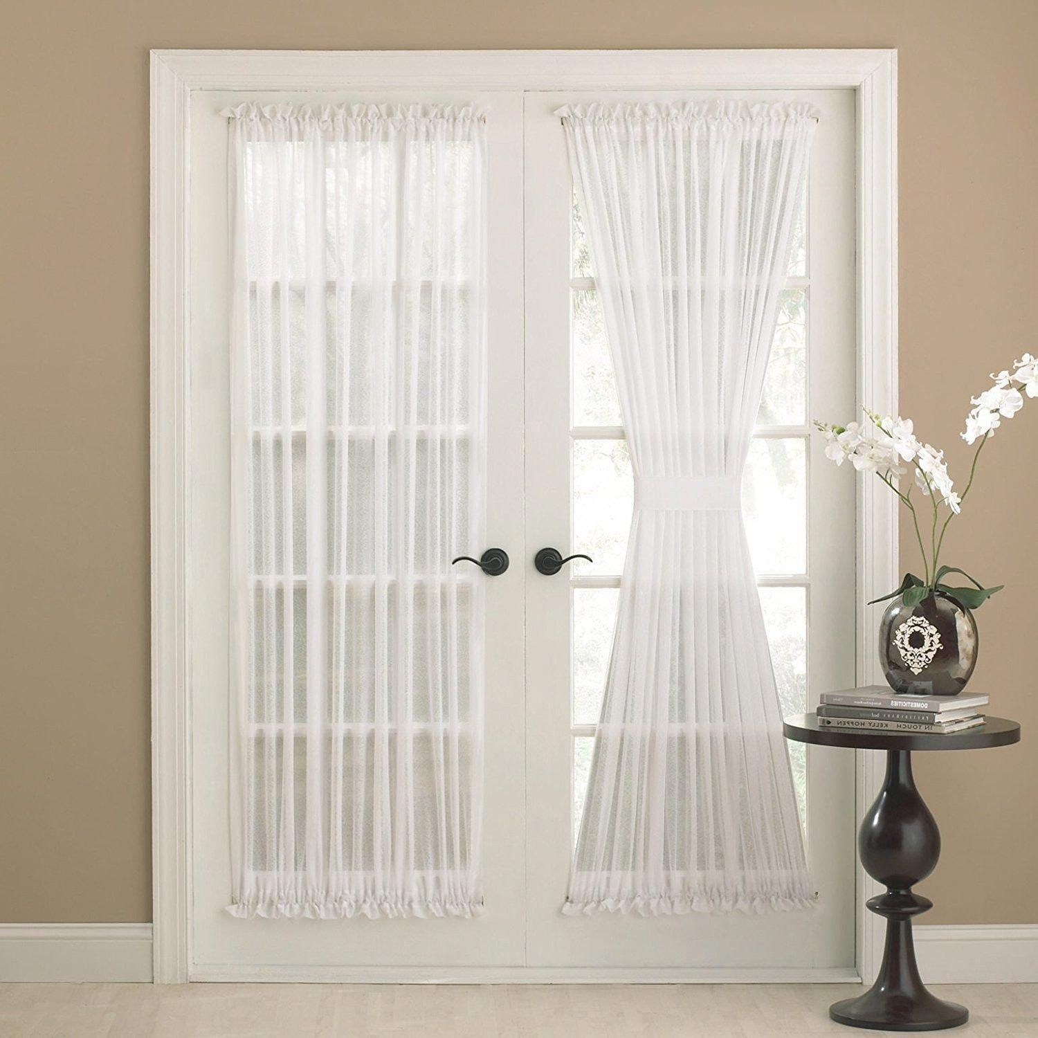 72 Inch Eggshell Solid Color Semi Sheer French Door Curtain Single