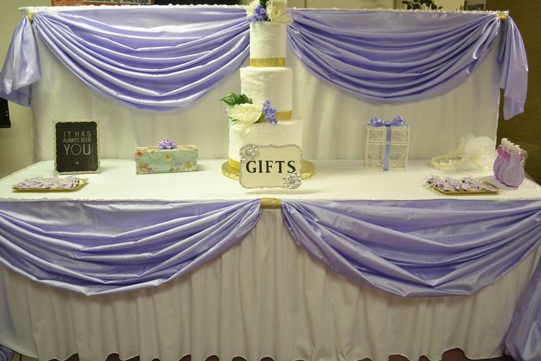 "Event Designer Frost, TX on Instagram: ""Bridal shower gift table #bridalshower #bridalshowerdecor #gifttables #towelcake #weddingshowergift #maryveladesigns #catchmyparty #backdrop #bridalshowerideas"""