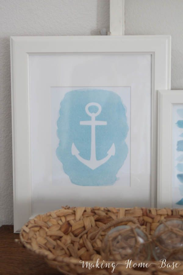 Free Anchor Printable Download is part of Free nautical printables, Printables, Download printables, Nautical printables, Beach themes, Shark cookies - Nautical is perfect for summer decorating  This free anchor printable is a great way to bring summer into your home
