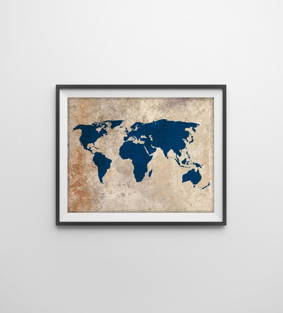 I want this hanging somewhere in my apartmenteven like it without this could be cool to hang in the apartment rustic world map art print rustic vintage style world map poster travel decor earthy art navy world map gumiabroncs Images