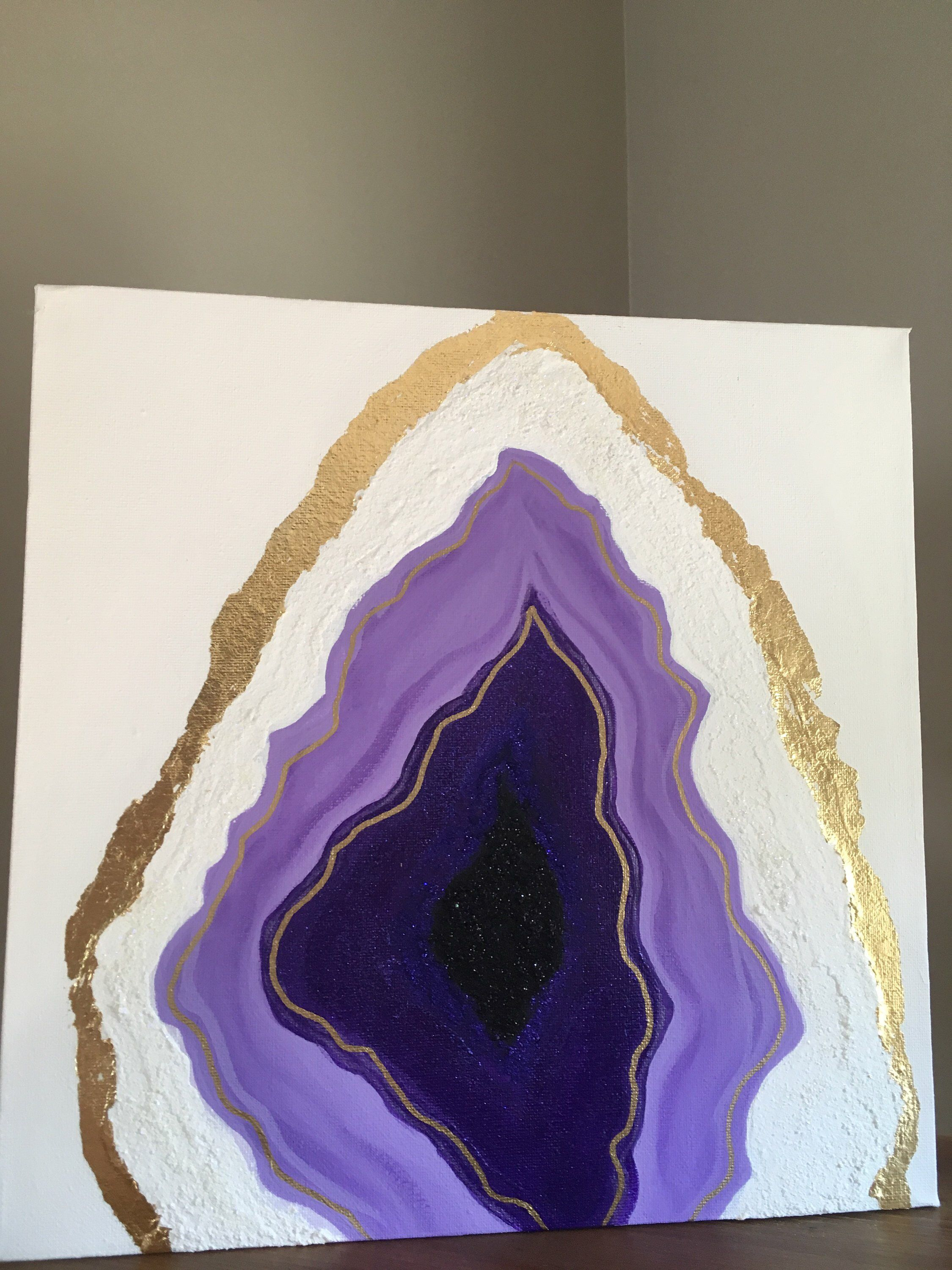 Amethyst Geode Painting On Canvas By Aladesignhouse On Etsy Httpswwwetsy