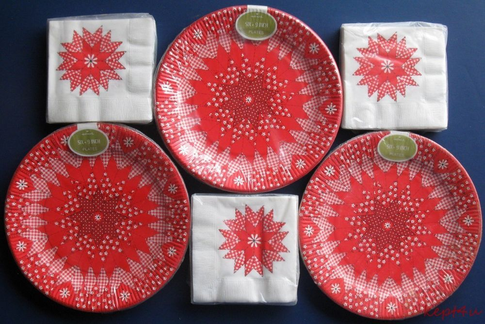 Vtg 1970s New in pkg Hallmark Red PAPER PLATES NAPKINS Set & Vtg 1970s New in pkg Hallmark Red PAPER PLATES NAPKINS Set | Very ...