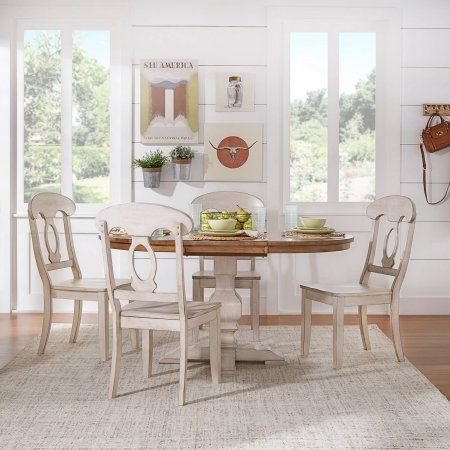 Weston Home 5 pc 60 inch Oval Dining Set, with Oak and Antique White Table and Antique White Napoleon Back Chairs