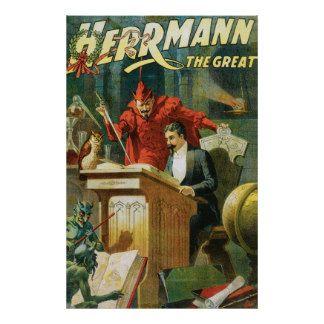 Leon Herrmann o ato mágico do grande vintage do ~ Pôsteres