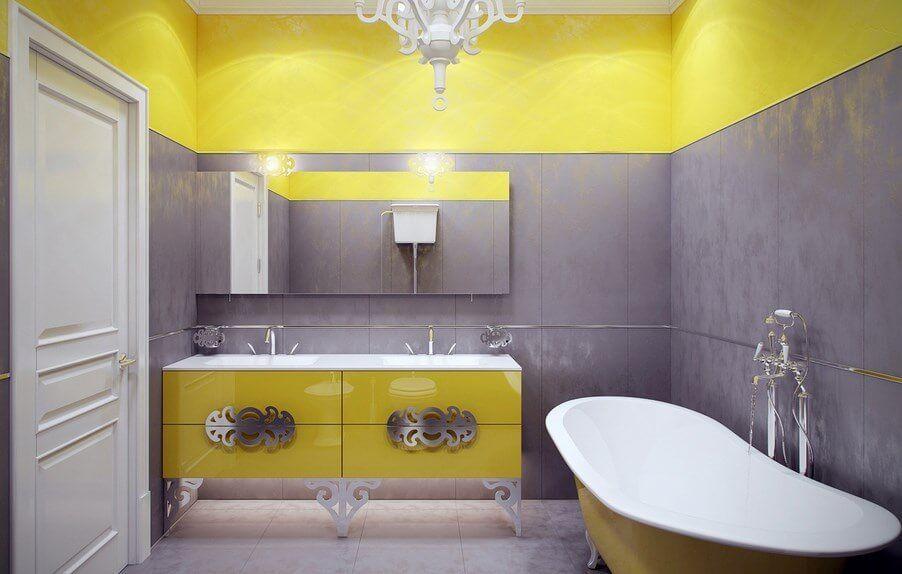 painting bathroom cabinets yellow | Bathroom Cabinets | Pinterest ...