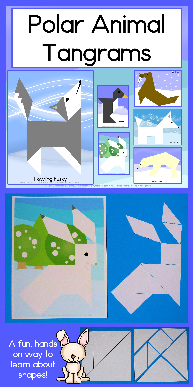 2d Shapes Center Polar Animal Tangram Puzzles