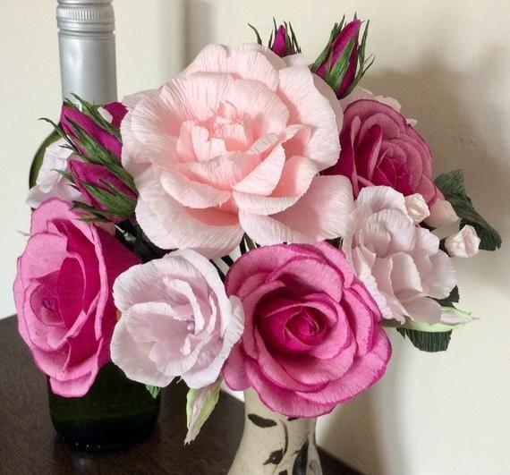 Paper Flower Handtied Bouquet- Pink handmade crepe paper roses + filler flowers + paper leaves- Wedd #crepepaperroses