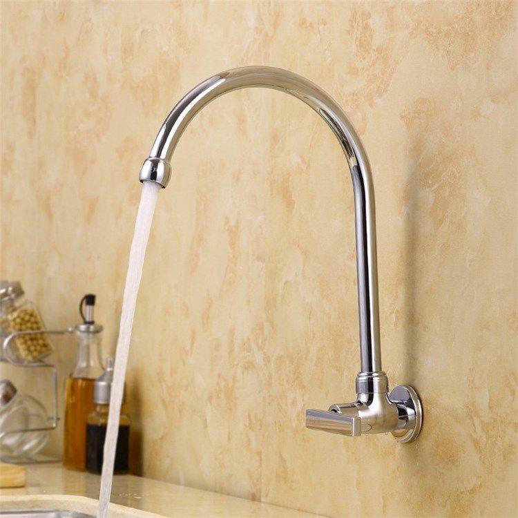 壁付水栓 キッチン蛇口 台所蛇口 単水栓 回転可能 クロム U型 キッチンの蛇口 水栓 蛇口