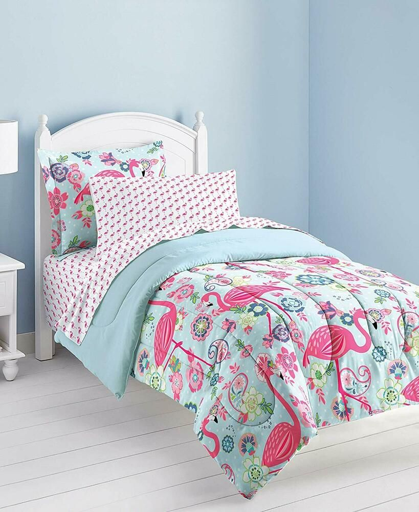 Dream Factory Flamingo Comforter Set, Pink, Twin