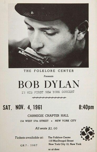 First concert Bob Dylan New York in 1961