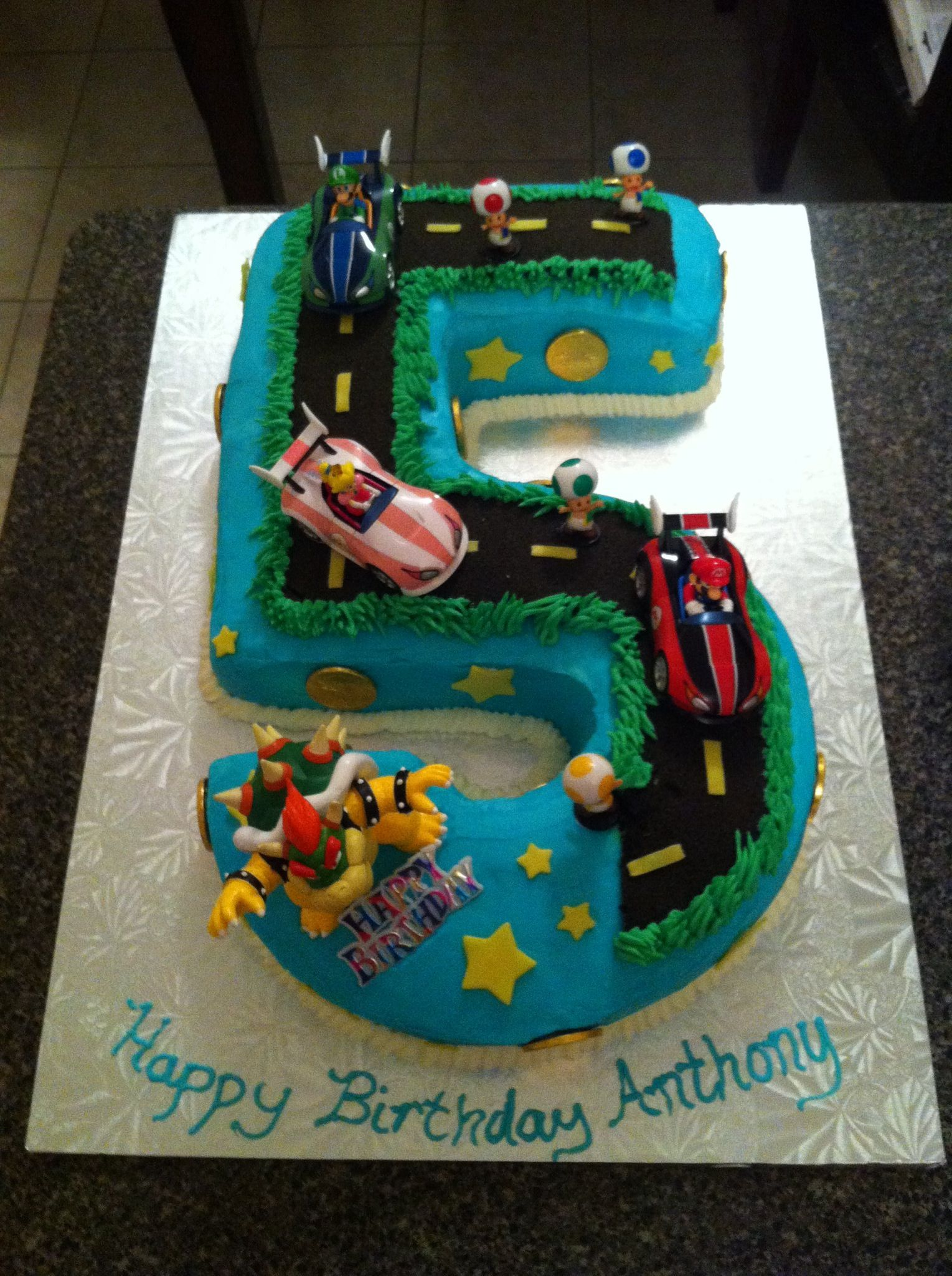 Sensational Mario And Bowser Cake For Anthonys 5Th Birthday Top View Funny Birthday Cards Online Alyptdamsfinfo