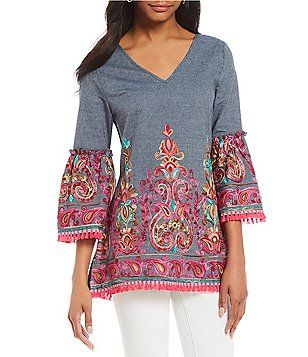 1eae108b2689a3 Calessa Bell Sleeve Embroidered Tunic Top | Amanda bat mitzvah ...
