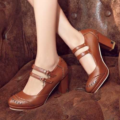 Pas cher Grande taille 34 43 Vintage talon carré chaussures à talons hauts  gladiateur Double boucle