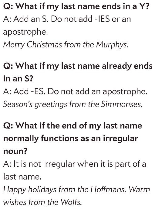 How to make last names plural