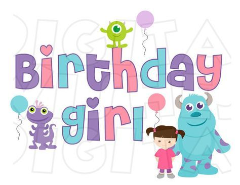 Monsters Inc Birthday Girl Digital Iron On Transfer Image Clip Art Instant Download Diy For Shirt Monster Inc Birthday Monster Inc Party Girl Birthday