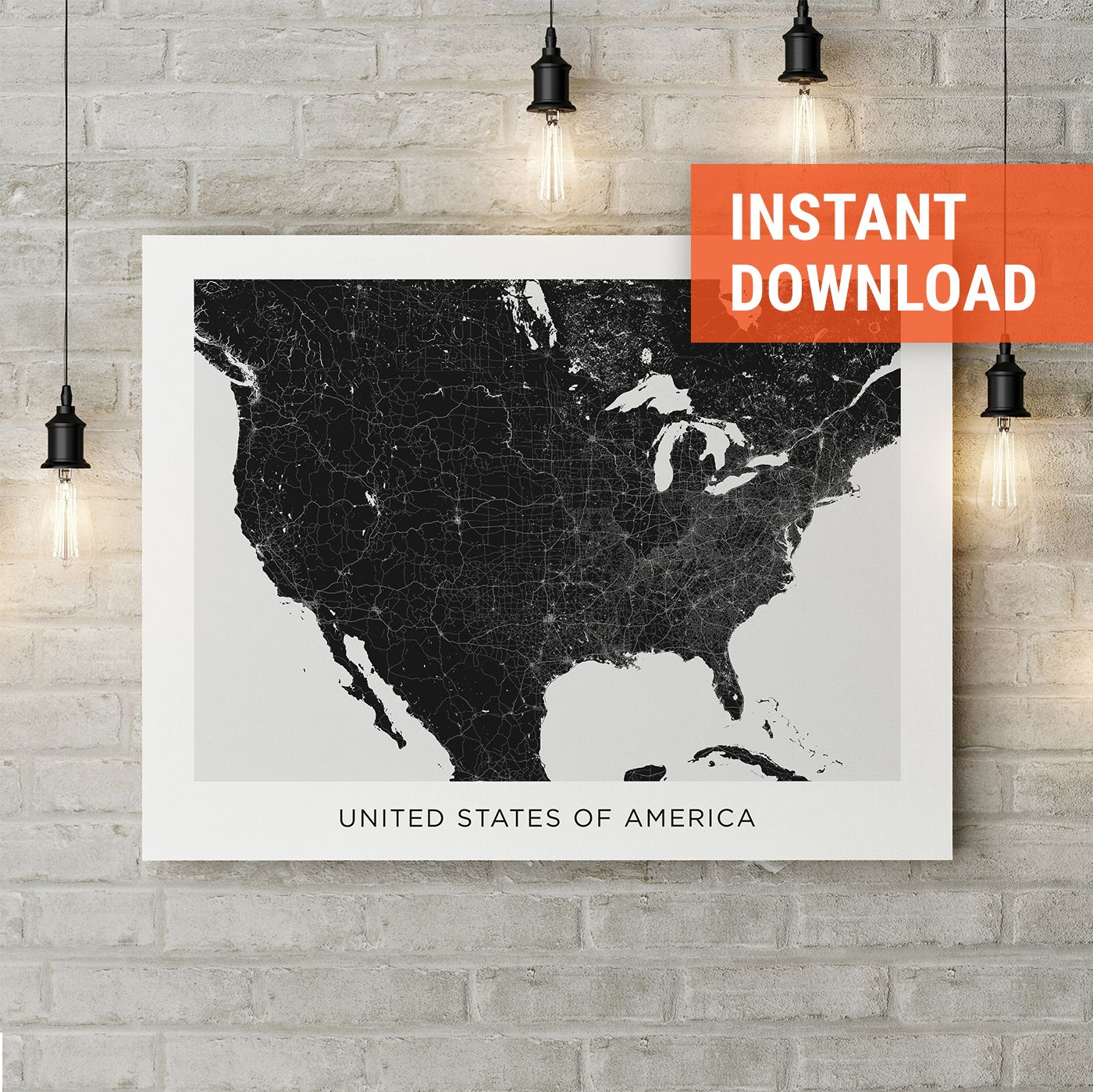 USA map poster print download, United States street map, USA ...