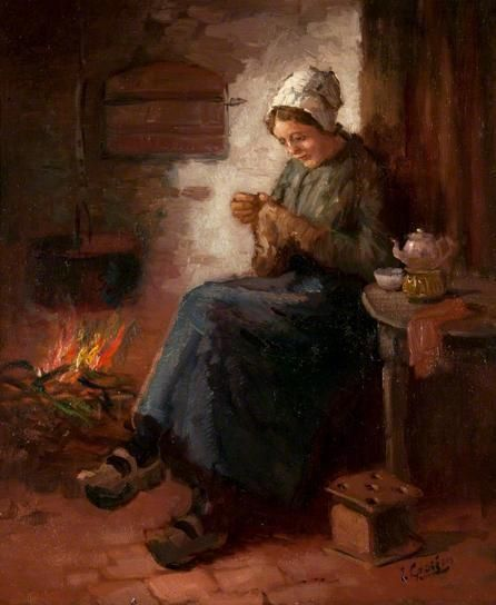 *Interior with a Woman Sewing  by L. Grossen*