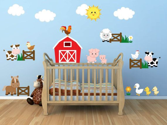 kids room wall decals - farm wall decals - farm animal decals