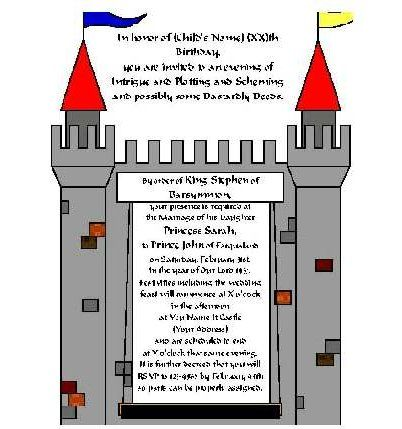 Medieval Party - buy the package for $40 and itu0027s all planned out - invitation wording for mystery party