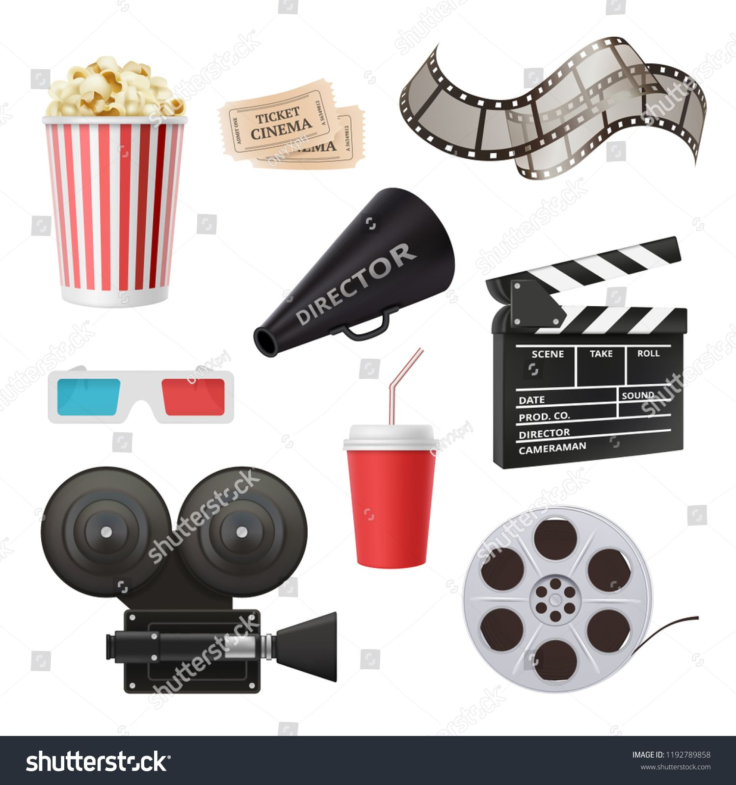 Movie 3d Icons Camera Cinema Stereo Glasses Popcorn Clapper And Megaphone For Film Production Vector Realistic Pictures In 2020 3d Icons Retro Vector Graphics Cinema